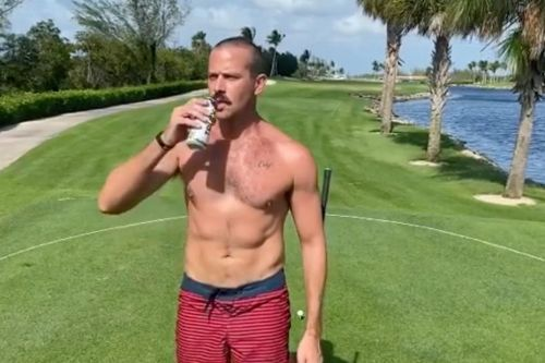 Armie Hammer posts bizarre video of himself golfing and chugging a beer