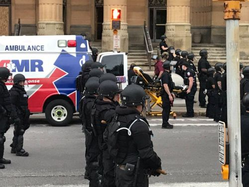 VIDEO: Man injured after shoved by police during protest in Buffalo