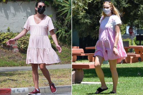 Pregnant Lea Michele and Sophie Turner step out in similar pink dresses