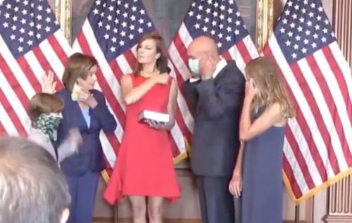 WATCH: Pelosi Takes Off Mask Inside Capitol Building For Photo Op