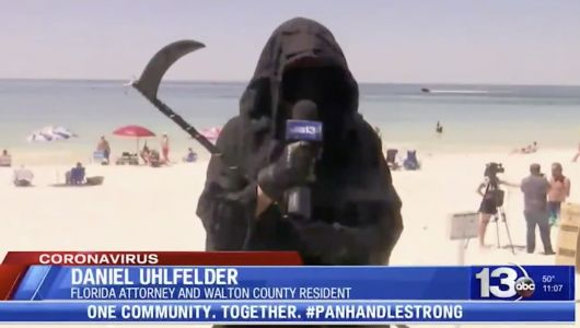 Attorney Who Visits Florida Beaches Dressed as Grim Reaper to Troll CPAC with a Plane Banner Reading: 'Welcome Insurrectionists!'