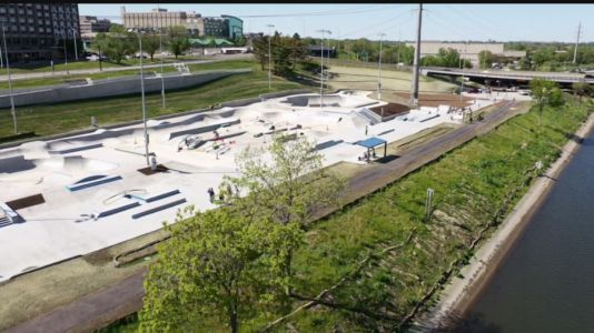 Crowd Gathers Even Before Ribbon-Cutting at Lauridsen Skatepark