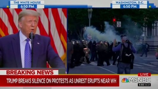 AMERICAN DIVIDE: Surreal Split Screen Cable Moment Shows Trump Promising 'Law and Order' While Police and Protestors Clash in DC Streets